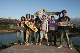Portrait of young skateboarders in Antananarivo, on 2015, June 31st