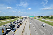 Highway 183 with rush hour traffic in Euless, TX looking east (before construction project)