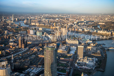 Aerial view of London Southbank Tower towards Waterloo Station.
