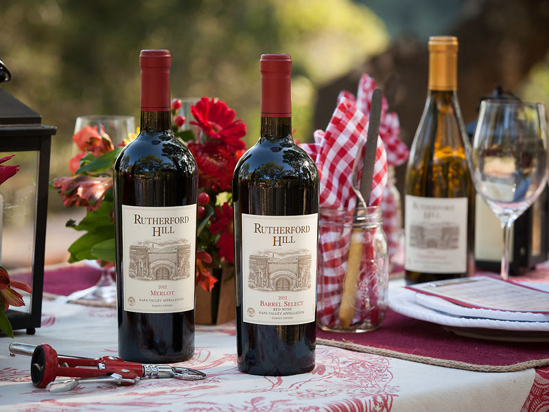 Custom styled wine bottle photography shot on location in the Napa Valley for Delicato Wine Company