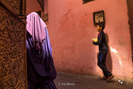 A street scene in the Medina in Meknes