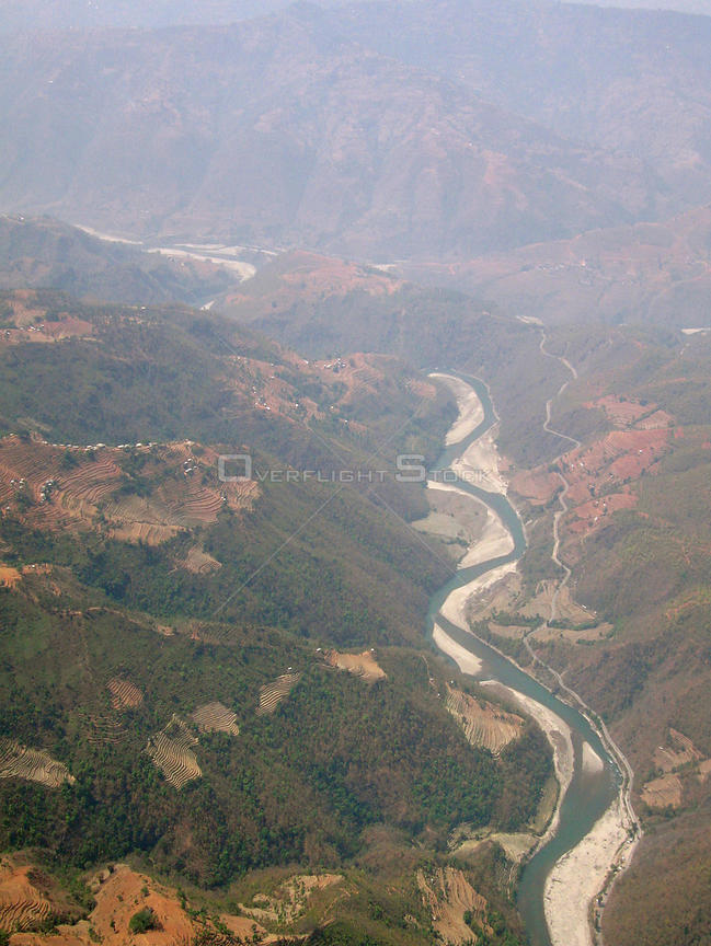 NEPAL Near Ramechhap -- 16 Apr 2005 -- Aerial view of the Tamba Khosi River, a tributary of the Sun Khosi River, one of Nepal's largest rivers.