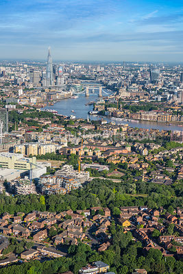 Aerial view of London, Rotherhithe with River Thames