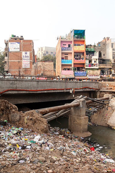 India - New Delhi - A new road that was being built over an open sewer, Malviya Nagar