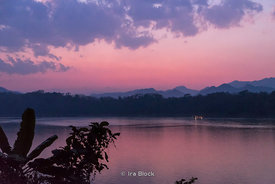 Sunset on the Mekong River in Luangprabang, Laos