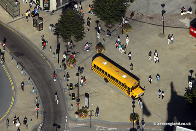 aerial photograph of  School Bus in .Sheffield