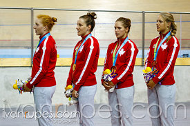 Women's Team Pursuit Podium. Track Day 2, Toronto 2015 Pan Am Games, Milton Pan Am/Parapan Am Velodrome, Milton, On; July 17, 2015