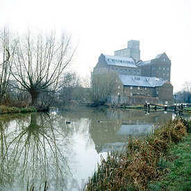 coxes lock mill building and lock river wey navigation, Addlestone. Weybridge. Surrey, England