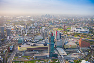 Aerial view of Queen Elizabeth Olympic Park, Statford International.