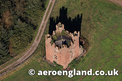 aerial photograph of Doddington Castle Cheshire England UK