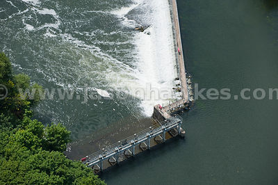 Aerial view of Weir on River Thames, Taplow, Buckinghamshire