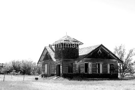 Abandoned church in northeastern New Mexico ghost town (black and white)
