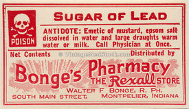 Antique Label for Sugar of Lead