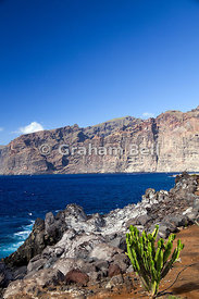 Los Gigantes cliffs from Puerto De Santiago, Tenerife, Canary Islands, Spain.