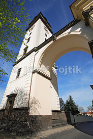 Tower of the Cathedral of st. Stephen, Litomerice, Czech Republic