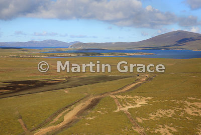 Saunders Island landscape from the air, Falkland Islands