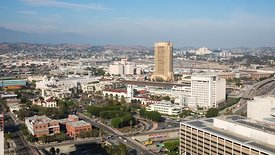 Medium Shot: Overlooking Union Station & the 101 in Downtown L.A.