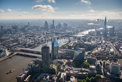Aerial view of London River Thames with The Shard in the backgound