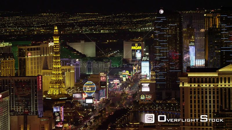 W/S aerial view of Paris Las Vegas with cityscape Las Vegas Las Vegas Nevada North America