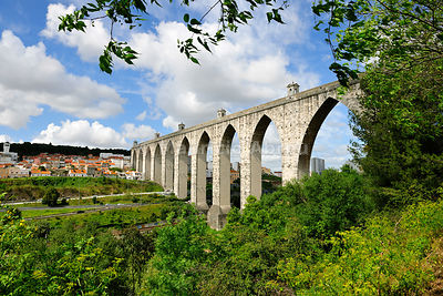 The 17th century aqueduct of Lisbon. Portugal