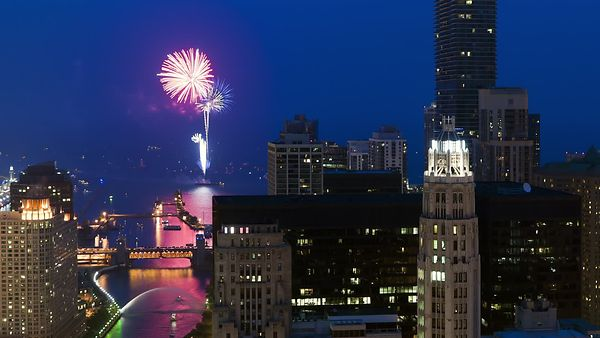 Bird's Eye: Fading Blue Hour For Navy Pier Fireworks, The Chicago River & An Armada Of Scattering Boats