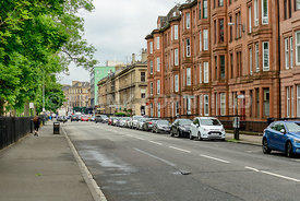 GLASGOW, SCOTLAND - JUNE 13, 2016: Western end of Sauchiehall Street in Glasgow, Scotland.