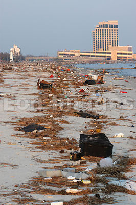 Debris on the beach in Biloxi, MS after Katrina