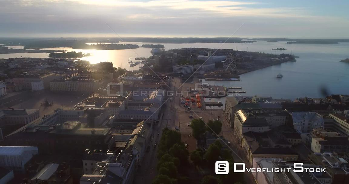 Helsinki City, Aerial Descending View of Kauppatori Market Square, the South Harbour and Katajanokka Bay, on a Sunny Summer Morning Dawn, in Helsingfors, Uusimaa, Finland