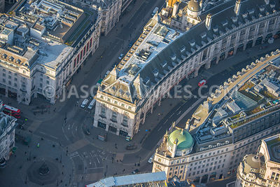 Aerial view of London, Regent Street at Piccadilly Circus.
