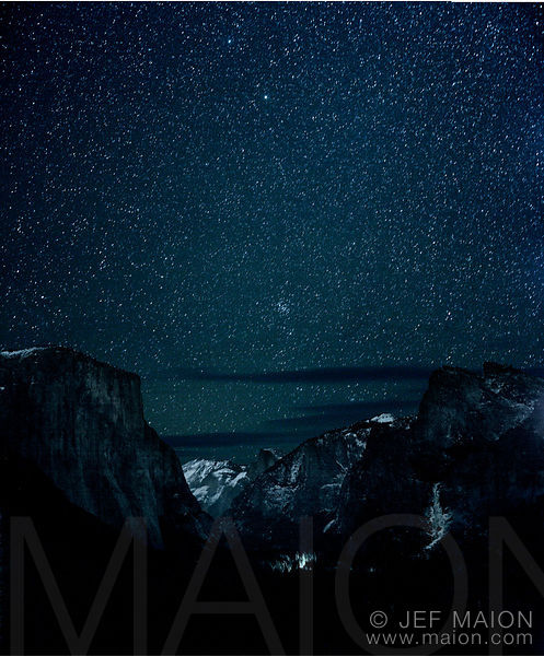 Mountain valley by night and stars