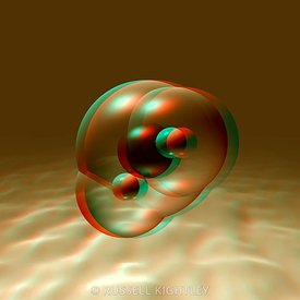 Anaglyph of Water molecule, H2O