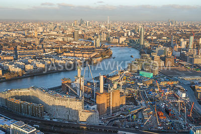 Aerial view of Battersea Power station develpment and Nine Elms