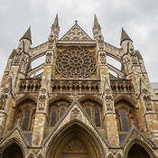Street view of Westminster Abbey including detail of door, London, England, United Kingdom
