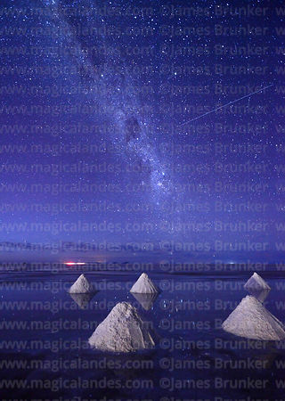 Salt cones, satellite and Milky Way shortly before dawn, Salar de Uyuni, Bolivia