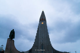 At the Hallgrímskirkja church in downtown Reykjavik.