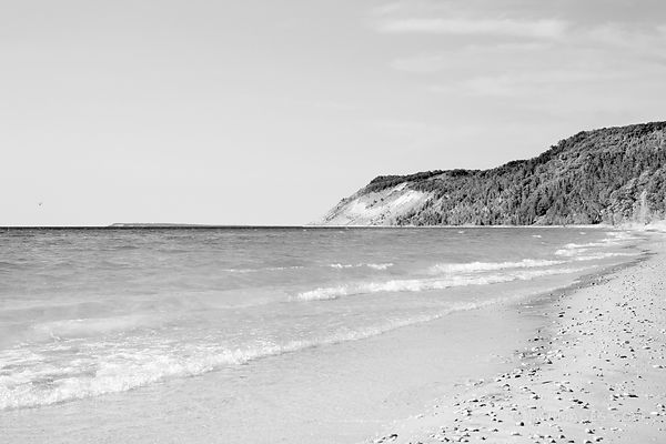 ESCH BEACH SLEEPING BEAR DUNES MICHIGAN BLACK AND WHITE