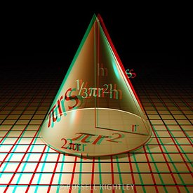 Anaglyph of a CONE showing equations for surface area and volume