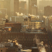 View looking south down State Street with morning light, Chicago, Illinois, USA