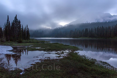 Reflection Lakes after sunset, Mount Rainier National Park, Washington