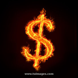 burning dollar sign, on fire