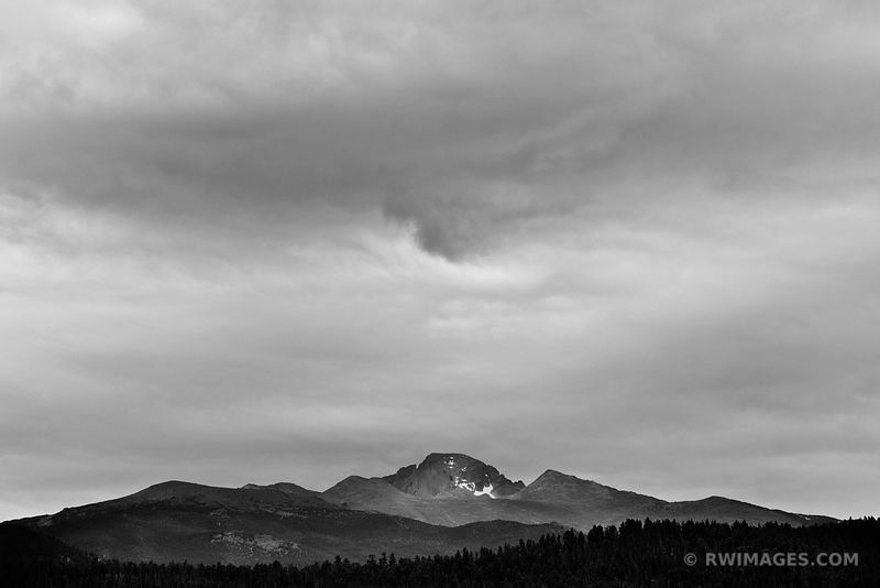 LONGS PEAK ROCKY MOUNTAIN NATIONAL PARK COLORADO BLACK AND WHITE