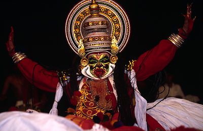 India - Kerala - An actor plays the demon Ravana in a production of the epic, the Ramayana at the Kerala Kalamandalam