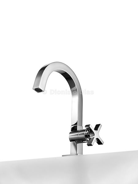 Lavatory tap isolated on white background view from below