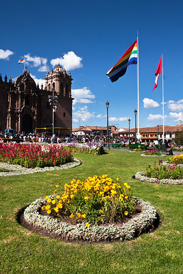 View of the Plaza de Armas and the Cathedral in Cusco, Peru