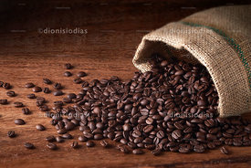 Coffee beans in the jute bag.