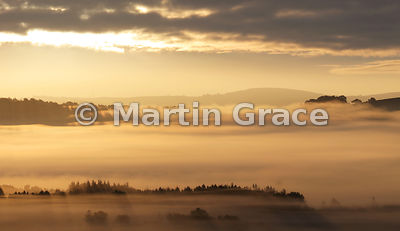Lyth Valley blanketed by early morning mist, October 9, Cumbria, England