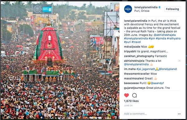 Lonely Planet official Instagram page; Puri Rath Yatra; June 2017 photos