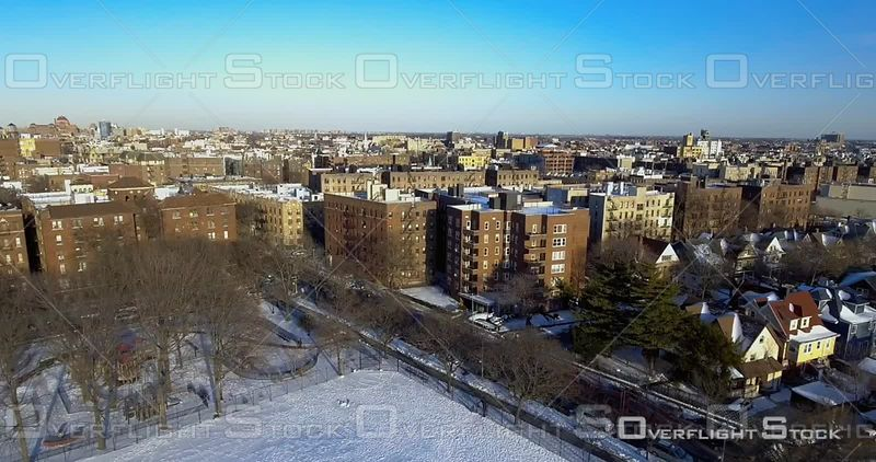 Aerial Over Snow Covered Soccer Football Fields Winter Day Brooklyn Prospect Park NYC