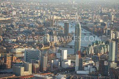 Aerial view of London, New US Embassy and with River Thames.