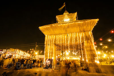 A pandal covered in gold lights at the 2013 Kumbh Mela, Allahabad, India.